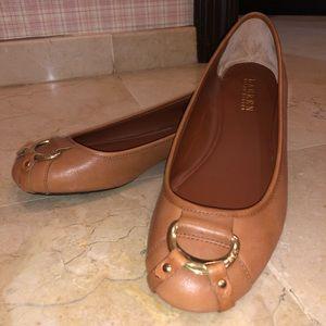 Ralph Lauren Tan Leather Flats